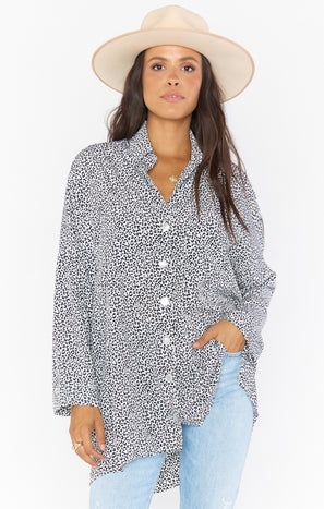 Johns Button Down Shirt ~ White Cheetah