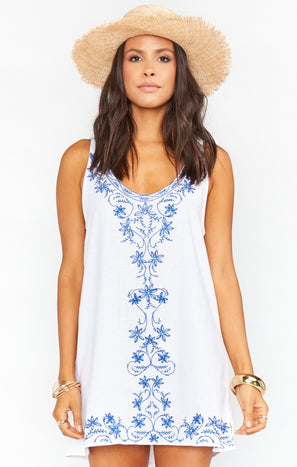Tia Tunic Dress ~ Blue Embroidery