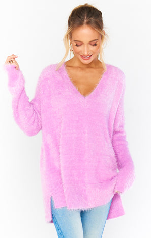 Cozy Forever Sweater ~ Pretty Pink Knit