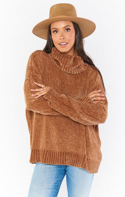 Fatima Turtleneck Sweater ~ Caramel Chenille
