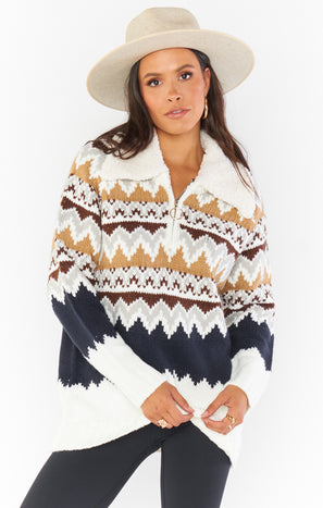 Sun Valley Pullover ~ Fair Isle with Faux Sherpa