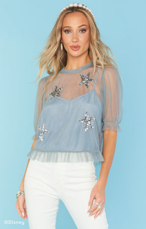 Star Top ~ Silver Star Sequins