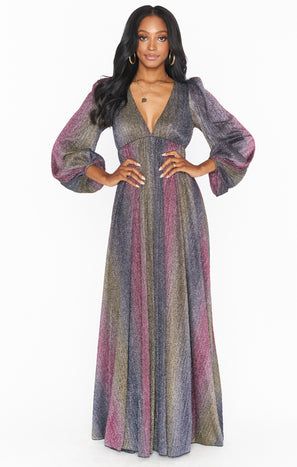 Rosaline Maxi Dress ~ Rainbow Sparkle Stripe