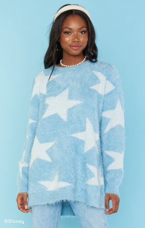 Fairy Godmother Sweater ~ Blue Fuzzy Star Knit