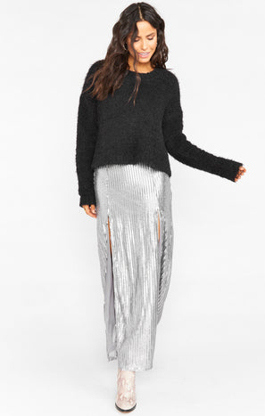 Mick Double Slit Skirt ~ Silver Sequins