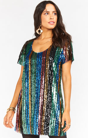 Katie Dress ~ Cocktail Stripe Sequins