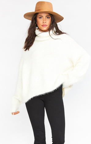 Fatima Turtleneck Sweater ~ Fuzzy White Knit