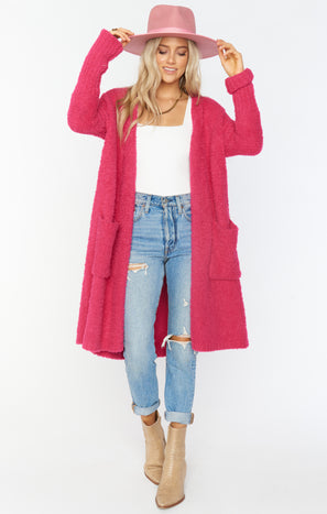 Clayton Cardigan ~ Shocking Pink Knit
