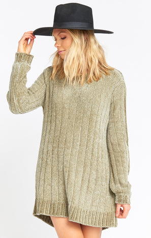 Nelly Sweater Dress ~ Marina Green Chenille