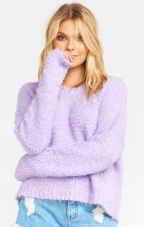 Cropped Varsity Sweater ~ Lilac Knubby Knit