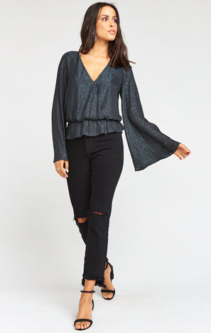 Richie Flare Top ~ Charcoal Cheetah Silky
