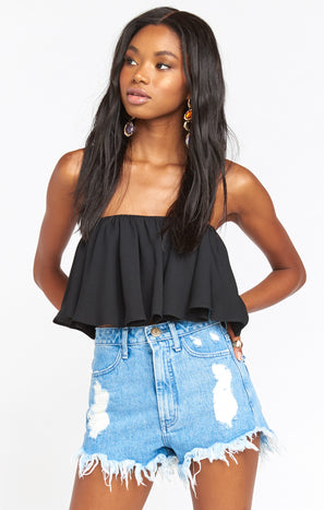 Heidi Ruffle Crop ~ Black