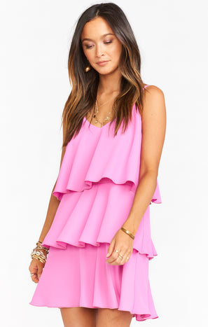 Suarez Ruffle Dress ~ Orchid Pink