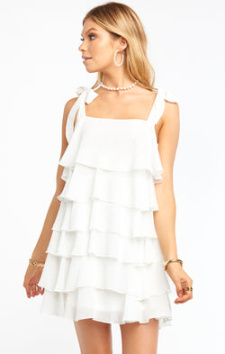 Rowen Ruffle Dress ~ White