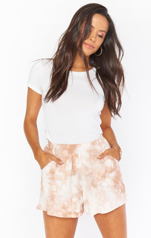 Cabana Shorts ~ Twisted Tie Dye Tan