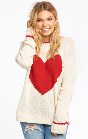 Sweetheart Sweater ~ White Knit