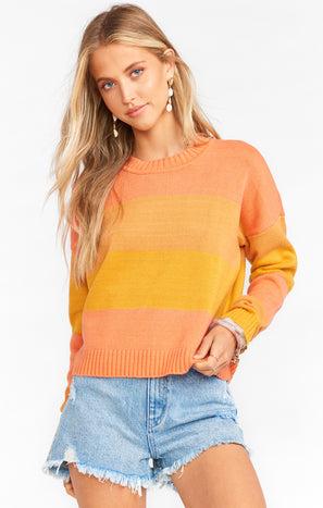 Cropped Varsity Sweater ~ Sunkissed Stripe Knit