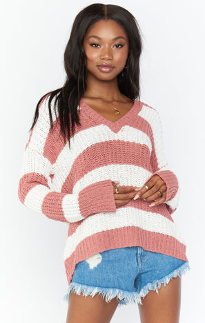 Shaw Sweater ~ Mauve Stripe Knit