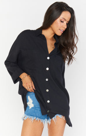 Johns Button Down Shirt ~ Black Linen