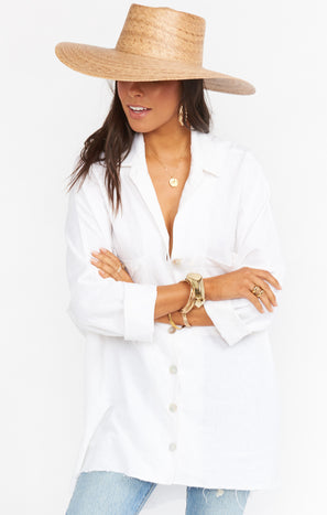 Johns Button Down Shirt ~ White Linen