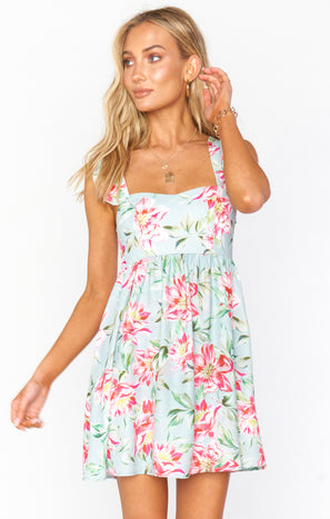 June Mini Dress ~ Ocean Bloom