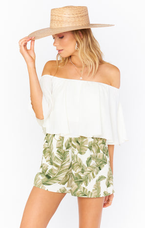 Cabana Shorts ~ Green Majestic Palm