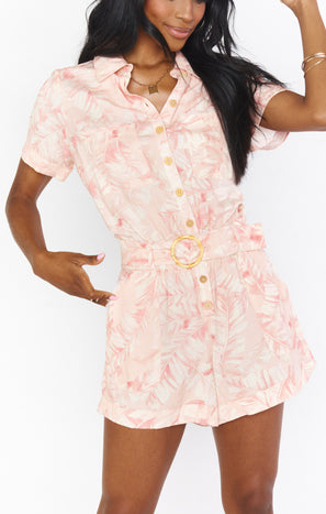 Bexley Romper ~ Pink Majestic Palm