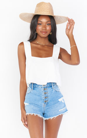 Tara Crop Top ~ White Linen
