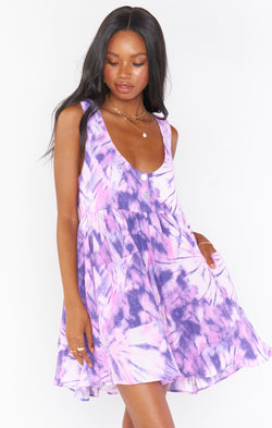 Weekend Mini Dress ~ Purple Tie Dye