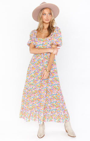 Linds Midi Dress ~ Rainbow Fields