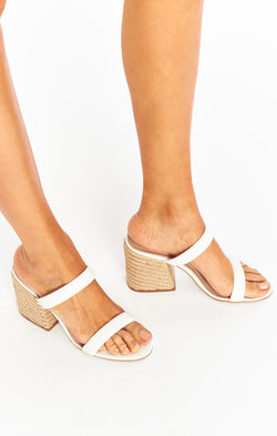 Steve Madden Marcella Block Heels ~ White/Natural
