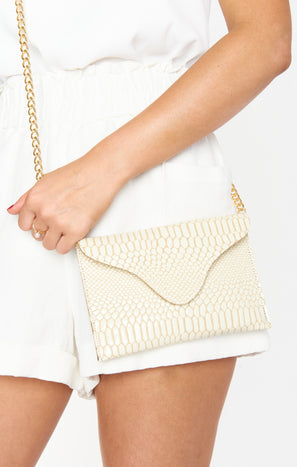 JJ Winters Miley Crossbody Bag ~ Natural Snake