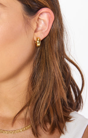 Luv AJ Monaco Huggie Earrings ~ Gold