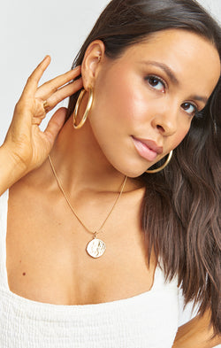 One Love Hoop Earrings ~ Matte Gold