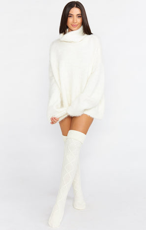 Over the Knee Cable Socks ~ White