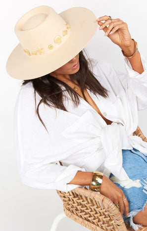 Lack of Color Seaside Concho Boater Hat ~ Ivory