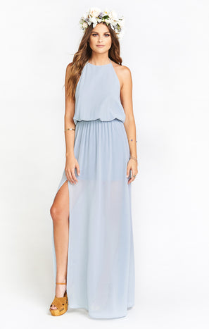 Heather Halter Dress ~ Steel Blue Chiffon