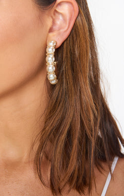 Sirocco Pearl Hoops ~ White/Gold