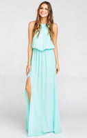 Halter High-Neck Elasticized Waistline Bridesmaid Dress With a Sash