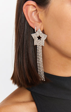 Star Rhinestone Earrings ~ Silver