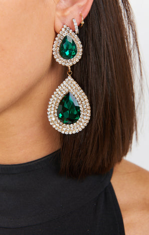 Vivi Statement Earrings ~ Green/Silver