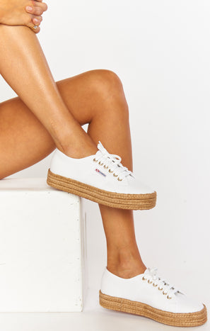 Superga 2730 Platform Espadrille Sneakers ~ White/Natural