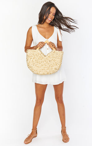 Tropicana Woven Beach Bag ~ Ivory/Gold