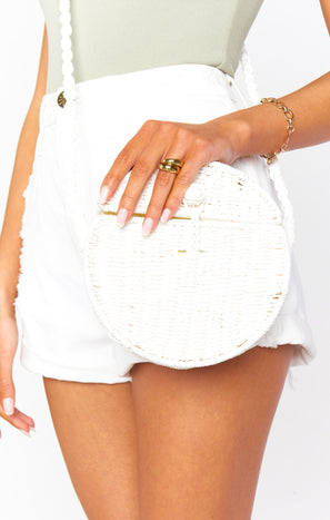 Vista Straw Round Bag ~ White
