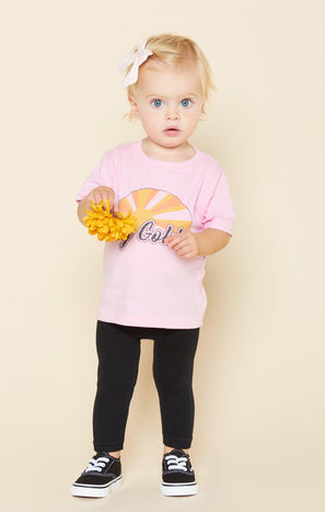 Wolfie Tee ~ Stay Golden Pink Graphic