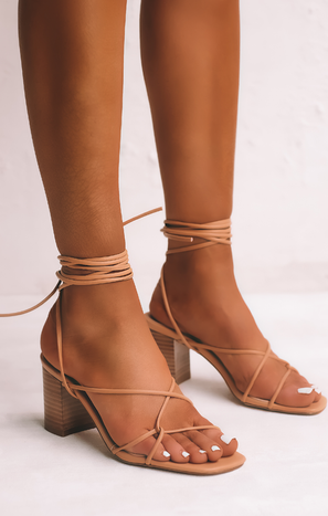 Billini Yeoman Wrap Up Heels ~ Desert Tan