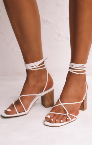 Billini Yeoman Wrap Up Heels ~ White