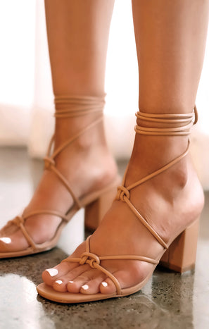 Billini Yovanna Wrap Up Heels ~ Desert Tan