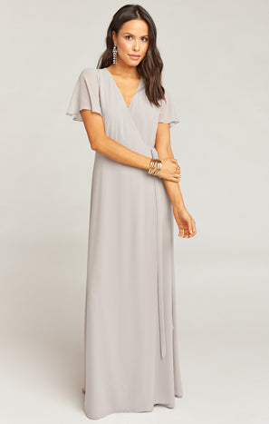 Noelle Flutter Wrap Dress ~ Dove Grey Chiffon