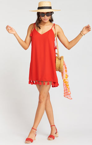 Throw and Go Tassel Mini Dress ~ Bonfire